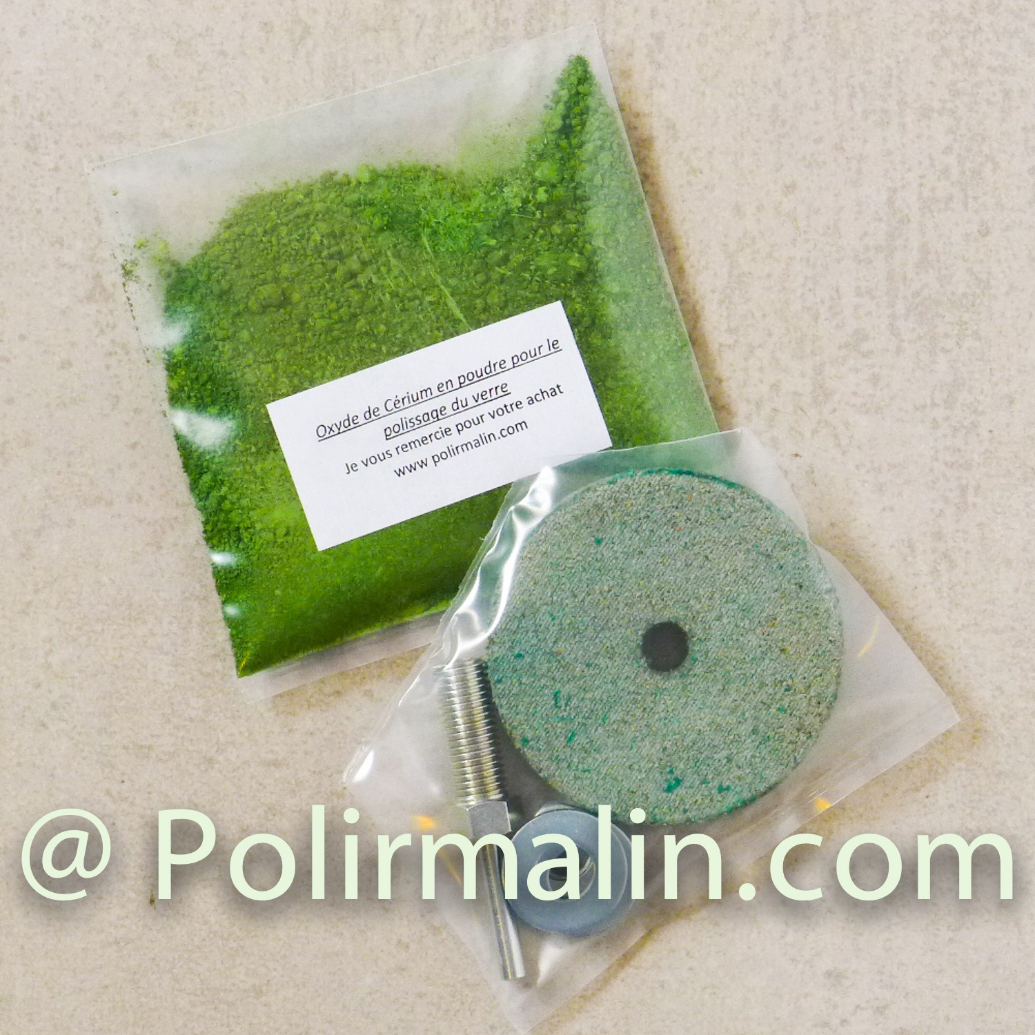 GLASS POLISHING REPAIR Kit www.polirmalin.com spécialiste du polissage, de l'ébavurage et du brossage